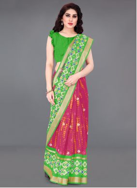 Cotton Printed Green and Hot Pink Printed Saree