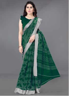 Cotton Printed Green Casual Saree