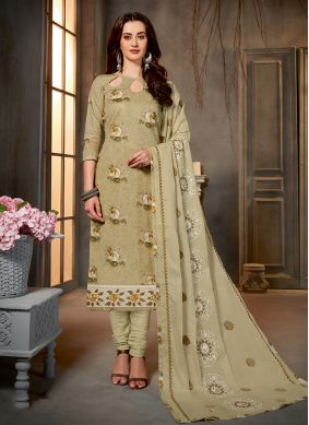 Cotton Printed Green Salwar Kameez