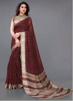 Cotton Printed Maroon Casual Saree