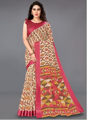 Cotton Printed Multi Colour Casual Saree