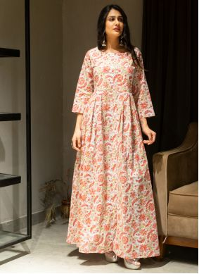 Cotton Printed Multi Colour Gown