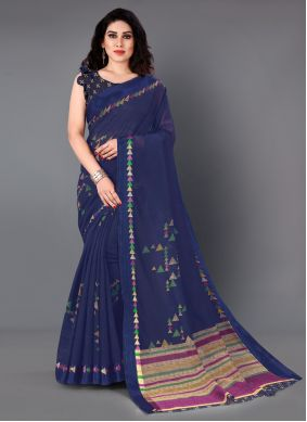 Cotton Printed Navy Blue Casual Saree