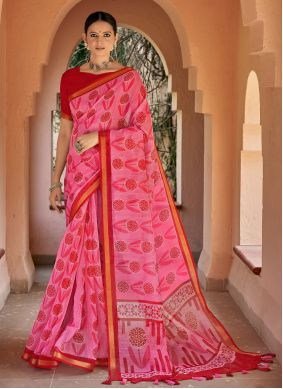 Cotton Printed Pink Printed Saree