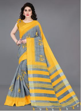 Cotton Printed Printed Saree in Grey and Yellow