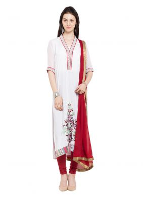 Cotton Printed Readymade Salwar Kameez in Off White