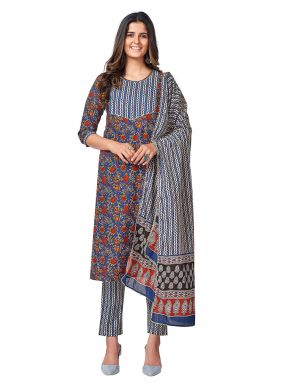 Blue Cotton Printed Readymade Suit