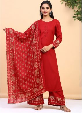 Cotton Printed Red Trendy Palazzo Suit