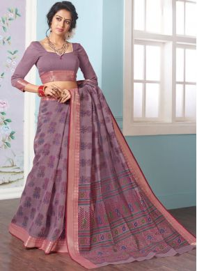 Cotton Printed Rust Casual Saree