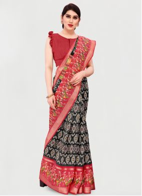 Cotton Printed Saree in Black and Red