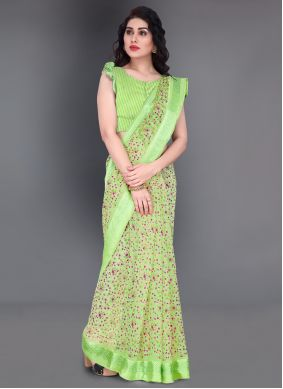 Cotton Printed Saree in Green