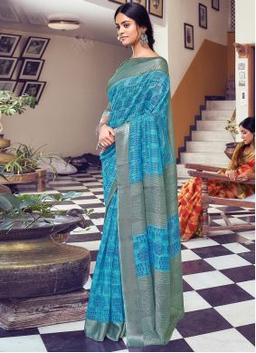 Grey And Blue Cotton Printed Traditional Saree