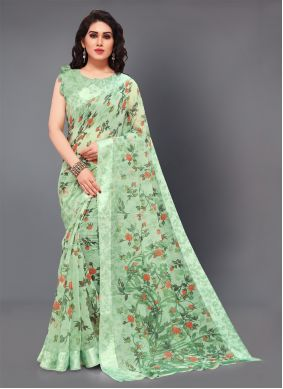 Cotton Printed Trendy Saree in Green
