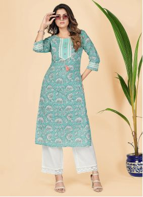 Cotton Printed Turquoise Party Wear Kurti