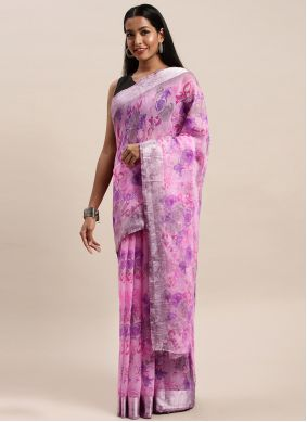 Cotton Printed Violet Printed Saree