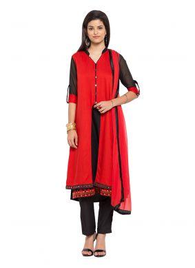 Red Cotton Readymade Salwar Kameez