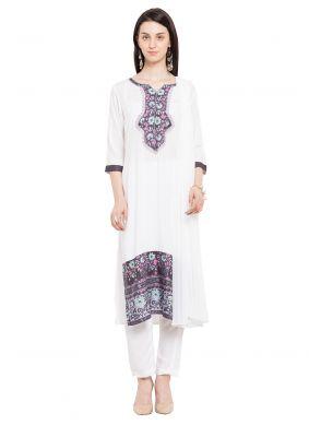 White Cotton Readymade Salwar Kameez