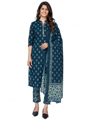 Cotton Readymade Suit in Blue