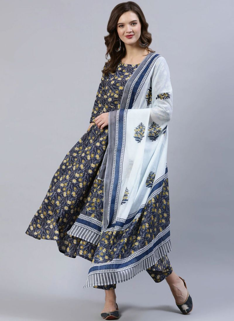 Cotton Readymade Suit in Multi Colour