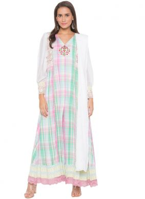 Cotton Readymade Suit in White
