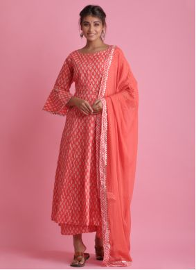 Cotton Red Block Print Readymade Suit