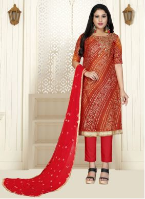 Cotton Red Embroidered Bollywood Salwar Kameez