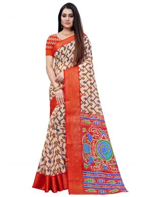 Cotton Red Printed Saree