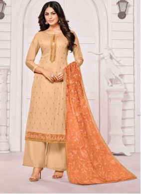 Cotton Salwar Kameez in Beige