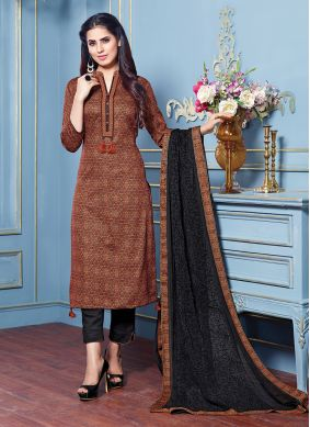 Cotton Satin Embroidered Brown Pant Style Suit