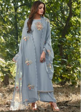 Cotton Silk Blue Designer Salwar Suit