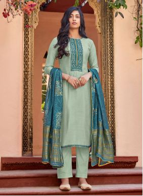 Cotton Silk Embroidered Pant Style Suit in Blue