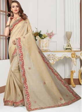Cotton Silk Embroidered Trendy Saree in Cream