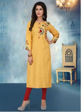 Cotton Silk Embroidered Yellow Party Wear Kurti