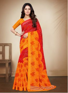 Cotton Silk Printed Saree in Red and Yellow
