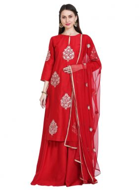 Cotton Silk Readymade Salwar Kameez in Red