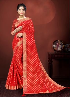 Cotton Silk Red Embroidered Traditional Saree