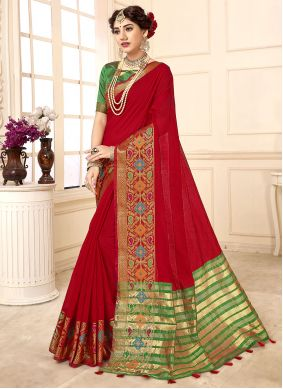 Cotton Silk Woven Traditional Saree in Red