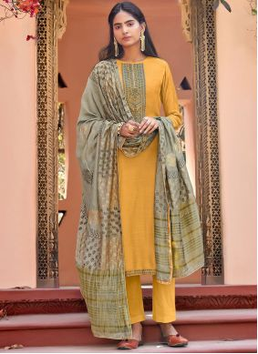 Cotton Silk Yellow Embroidered Pant Style Suit