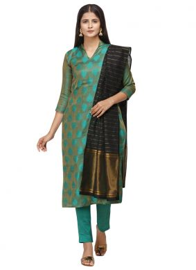 Cotton Turquoise Embroidered Pant Style Suit