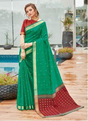 Cotton Weaving Green Traditional Saree