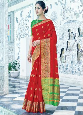 Cotton Weaving Red Traditional Saree