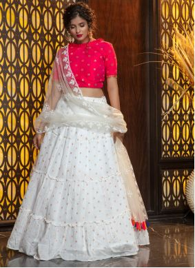 Cotton White Weaving Bollywood Lehenga Choli