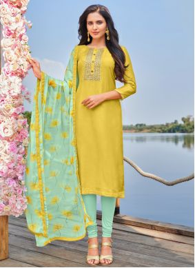 Cotton Yellow Embroidered Churidar Suit