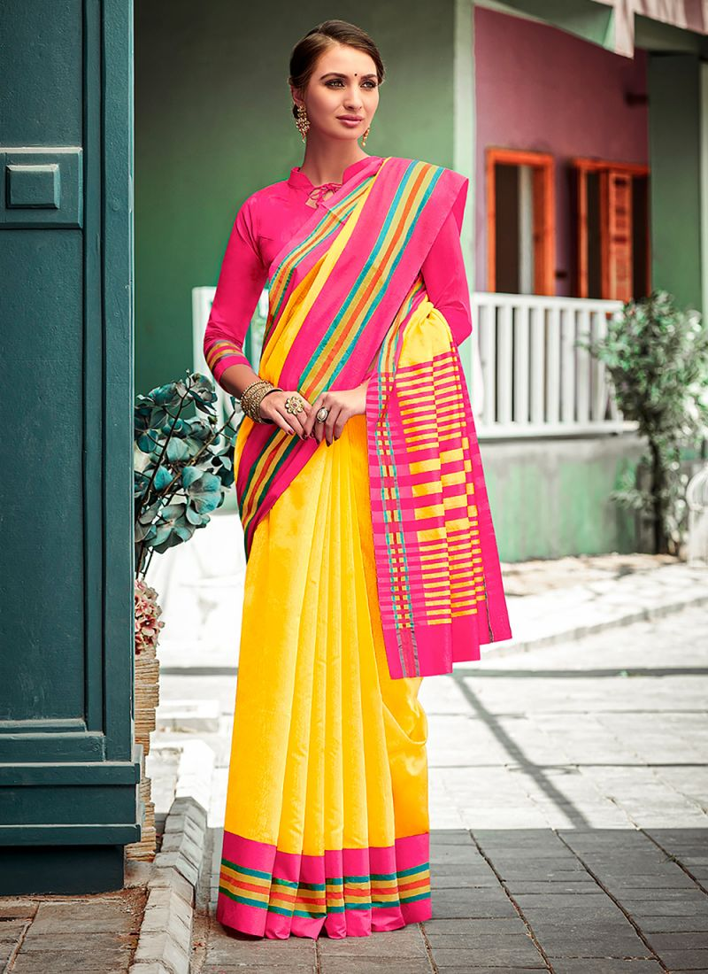 Cotton Yellow Lace Casual Saree