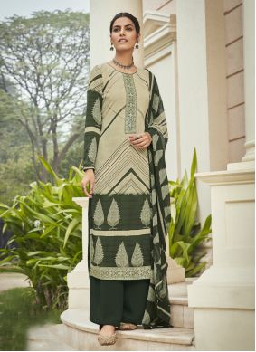 Cream and Green Embroidered Festival Designer Palazzo Suit