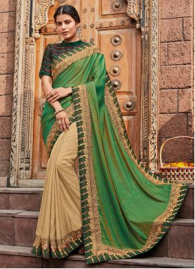 Cream and Green Silk Reception Classic Saree