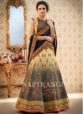 Cream and Navy Blue Art Silk Lehenga Choli