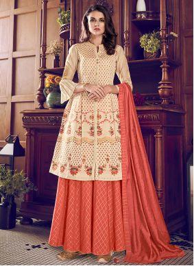 Cream and Orange Chanderi Silk Embroidered Designer Palazzo Suit