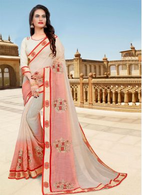 Cream and Pink Embroidered Classic Saree