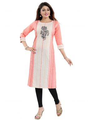 Cream and Pink Party Wear Kurti